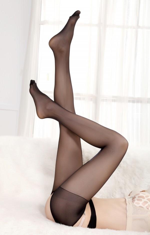 情趣用品-分花約柳緊身交叉開檔褲襪-性感黑