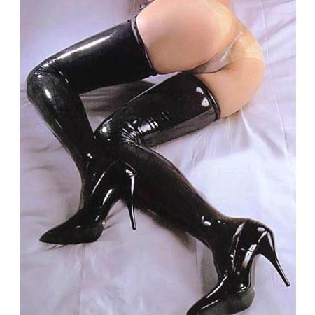 情趣用品-女用超長高彈性塗膠襪 (黑)