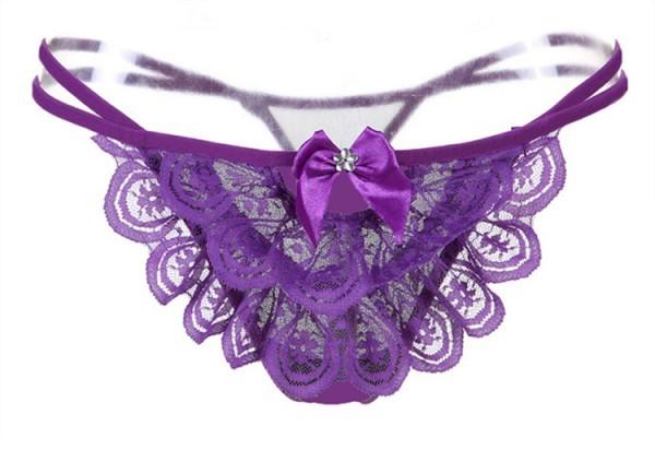 情趣用品-花都舞影 蕾絲無痕丁字褲(紫)