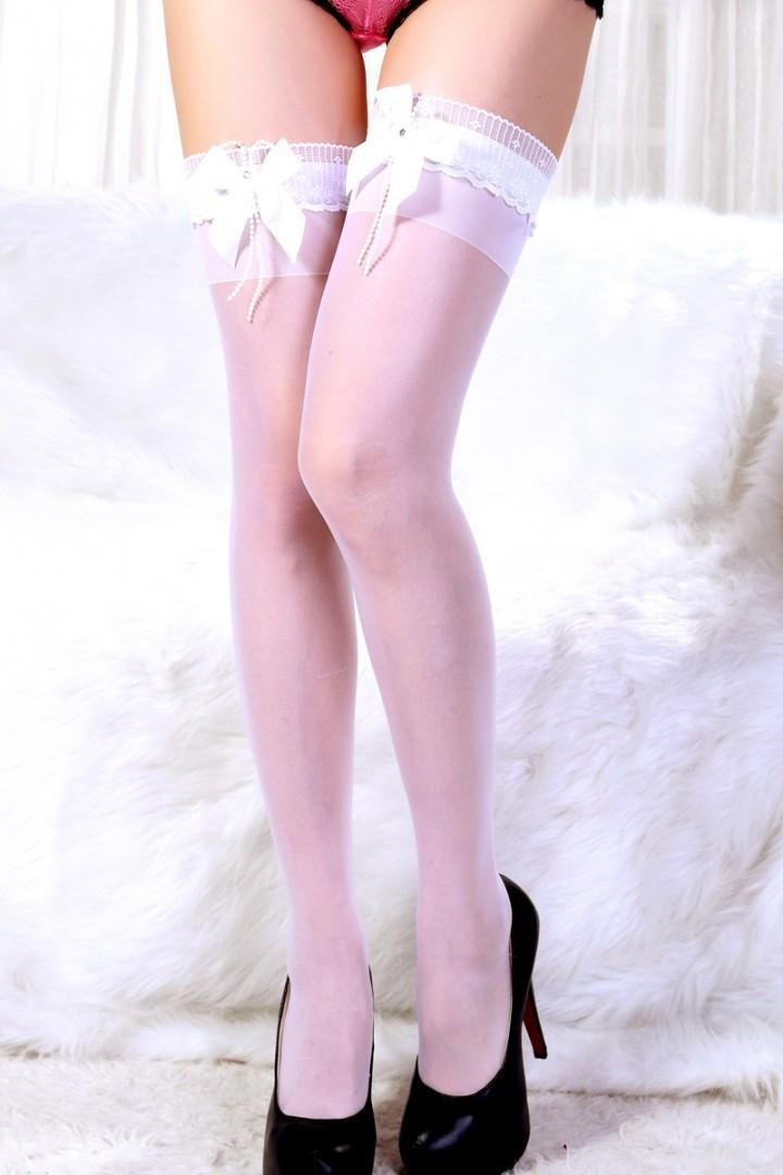 情趣用品-超薄蝴蝶結蕾絲花邊大腿襪-純潔白