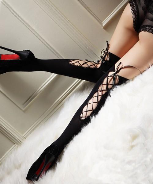 情趣用品-絲鏤空捆綁交叉帶辣妹襪
