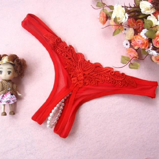 情趣用品-良辰美景 蕾絲透明珠珍開檔網紗性感女式情趣內褲-熱情紅