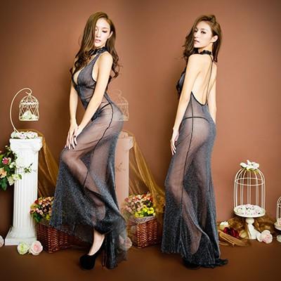 情趣用品-迎風待月 透明吊帶網紗性感連衣裙-兩件組