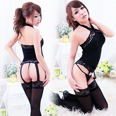 情趣用品-情誘夜蕾 柔軟天鵝絨材質黑色吊帶連體絲襪-兩件組