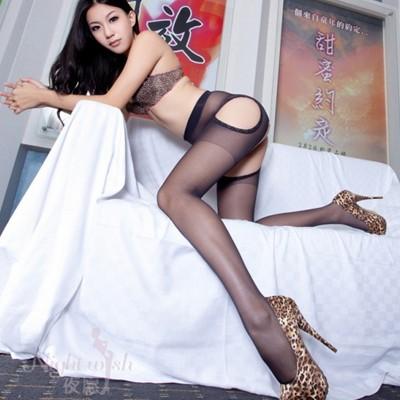 情趣用品-春暖花開黑色超性感緊身美腿襪 四面開襠