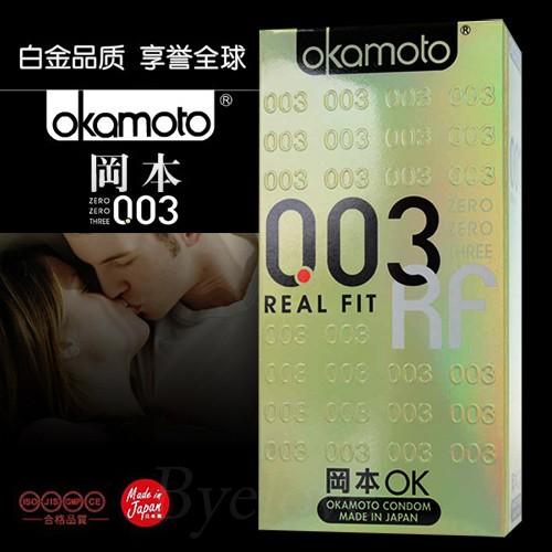 情趣用品-岡本003貼身型極薄衛生套10片(金)
