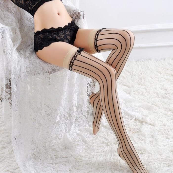 情趣用品-豎線設計蝴蝶結印花長筒襪 高筒舞蹈襪情趣絲襪