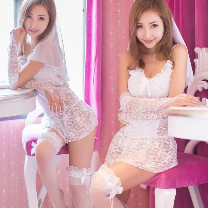 情趣用品-純愛   夢幻蕾絲新娘套裝-4件套