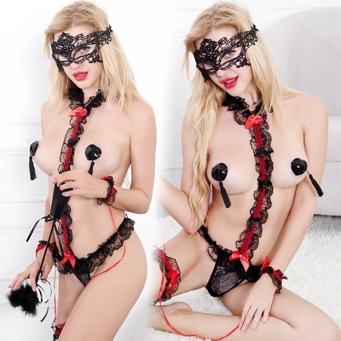 情趣用品-SM女王派對 扮裝Party 束縛綑綁play蕾絲性感情趣內衣套裝-神秘黑