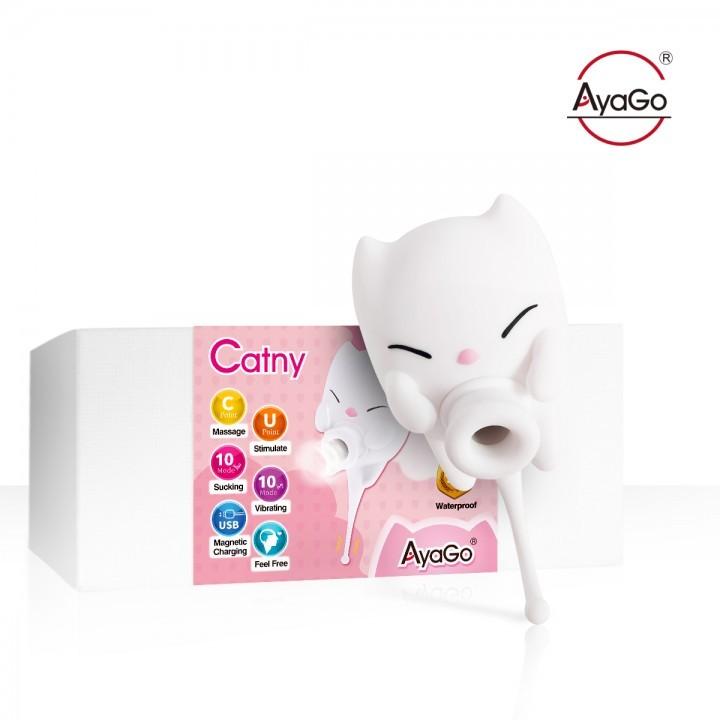 情趣用品-AyaGo Catny 小貓妮 創新10X10頻強勁震動吸吹 U+C點棒 快感吸吮按摩器-USB磁吸式充電