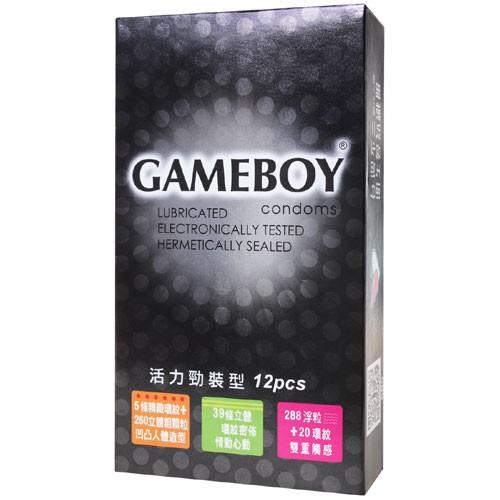 GAME BOY勁小子活力勁裝型衛生套保險套12入(環紋、三效合一、激點環紋各4入)