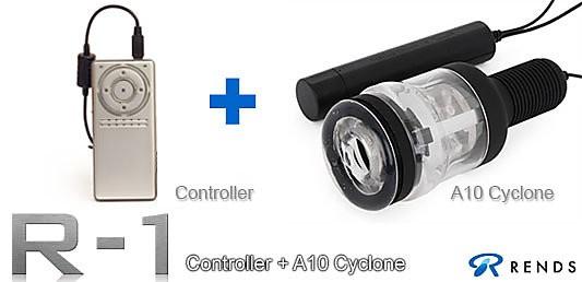 情趣用品-日本原裝進口 R1 Starter Set ( R1控制器 )+ A10 - CYCLONE 超高速迴轉旋風機 1+1 激射重裝武器超值組-贈一個專用杯體