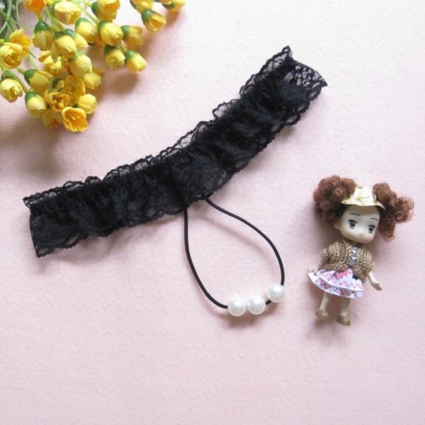 情趣用品-燈花之喜 蕾絲吊珠性感透視丁字褲情趣內褲-性感黑