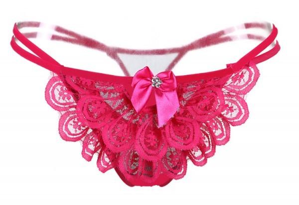 情趣用品-花都舞影  蕾絲無痕丁字褲(玫瑰紅)