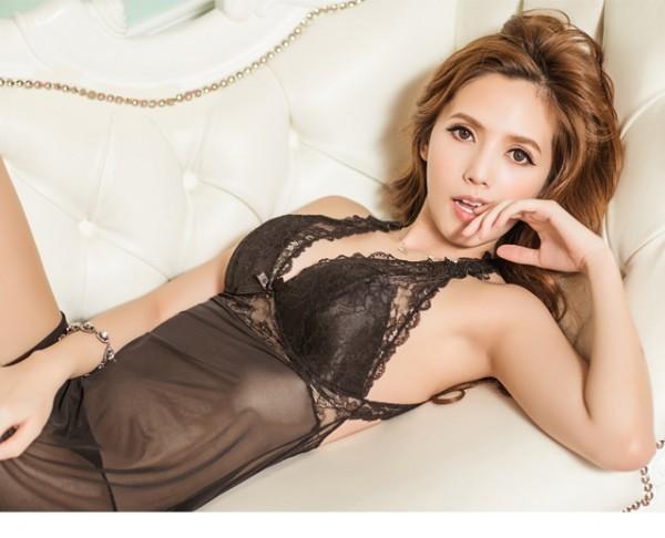 情趣用品-最新爆款 蕾絲套裝情趣內衣 長裙蕾絲性感睡衣(黑L)