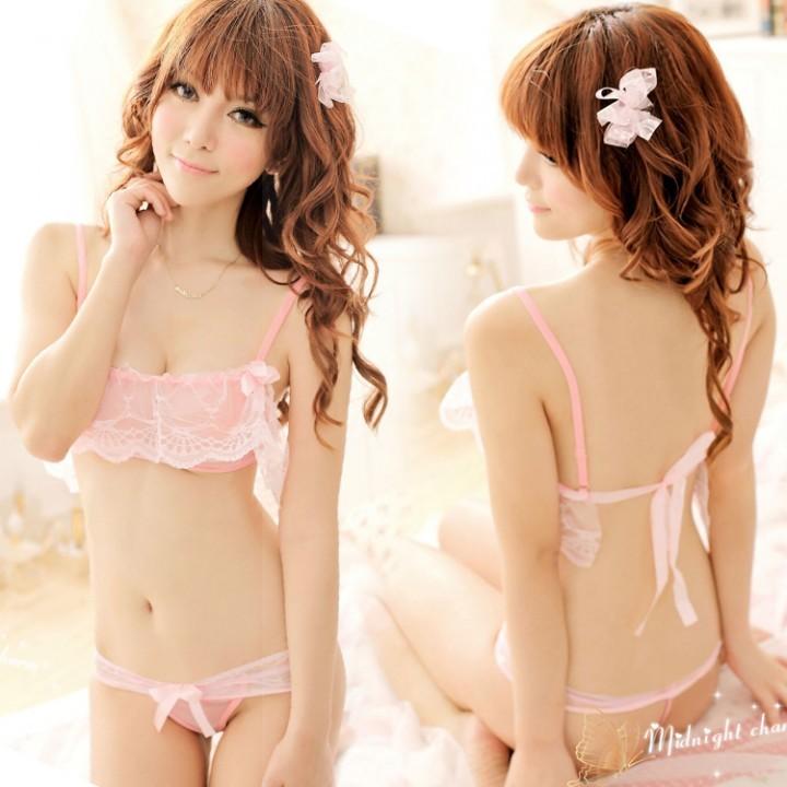 情趣用品-軟玉溫香 蕾絲透明薄紗比基尼套裝-兩件式-可愛粉