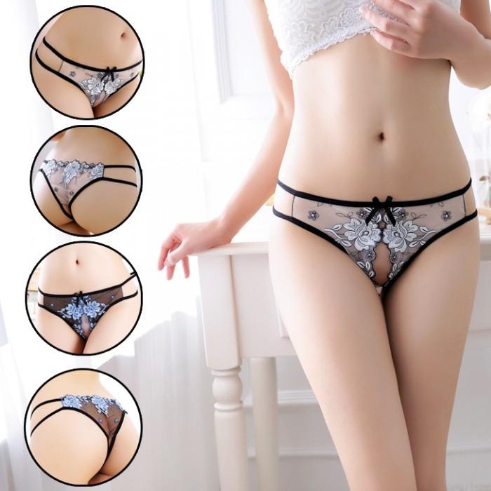 情趣用品-奢靡誘惑 高級刺繡透明薄紗女丁字褲