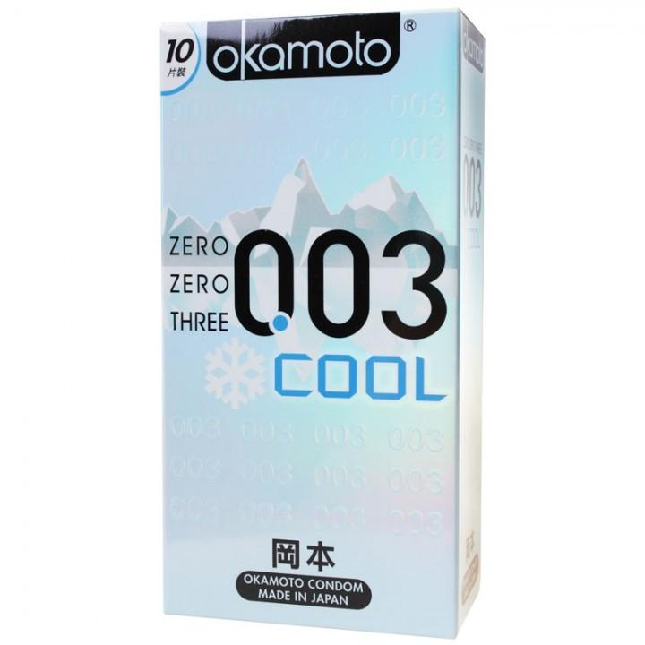 情趣用品-okamoto岡本OK 003COOL冰炫極薄衛生套保險套10片裝