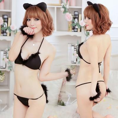 情趣用品-黑色性感 誘惑角色扮演貓女-五件套