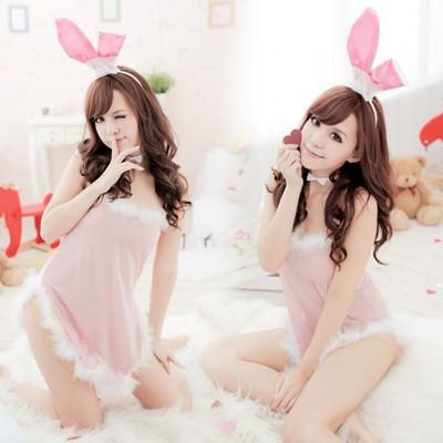 情趣用品-名花有主 可愛粉嫩透視兔子服制服裝-四件組