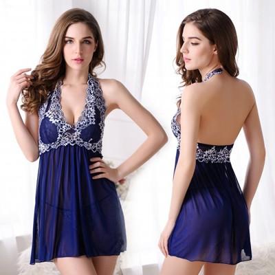 情趣用品-典美雅致 繡花連身睡衣(寶藍)-二件組