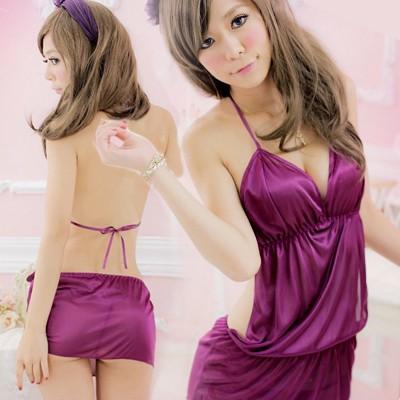 情趣用品-溫柔氣息 夢幻柔緞睡衣(魅惑紫)-二件組