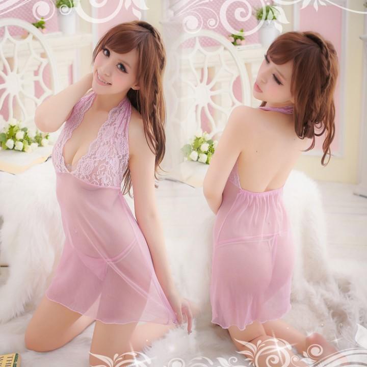 情趣用品-花前月下 粉色蕾絲透明薄紗睡衣-二件組