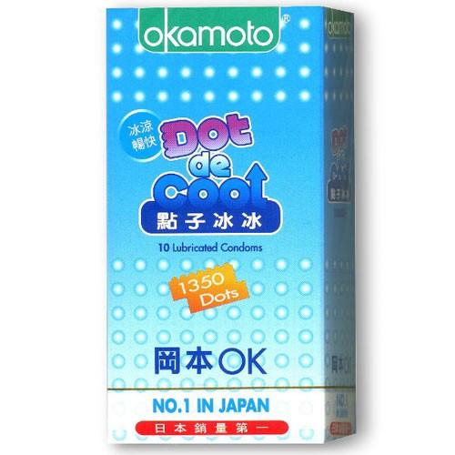 情趣用品-okamoto岡本OK 冰涼暢快 點子冰冰衛生套保險套10片裝