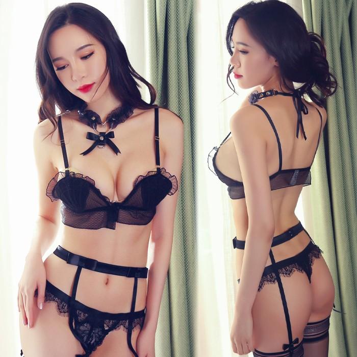 情趣用品-激情慾動 貝殼式胸罩 蕾絲透明吊襪帶套裝-三件套