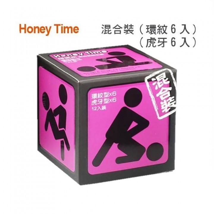 情趣用品-Honey Time (哈尼來 樂活套) 衛生套保險套12入(紫色_混合裝(環紋/虎牙))
