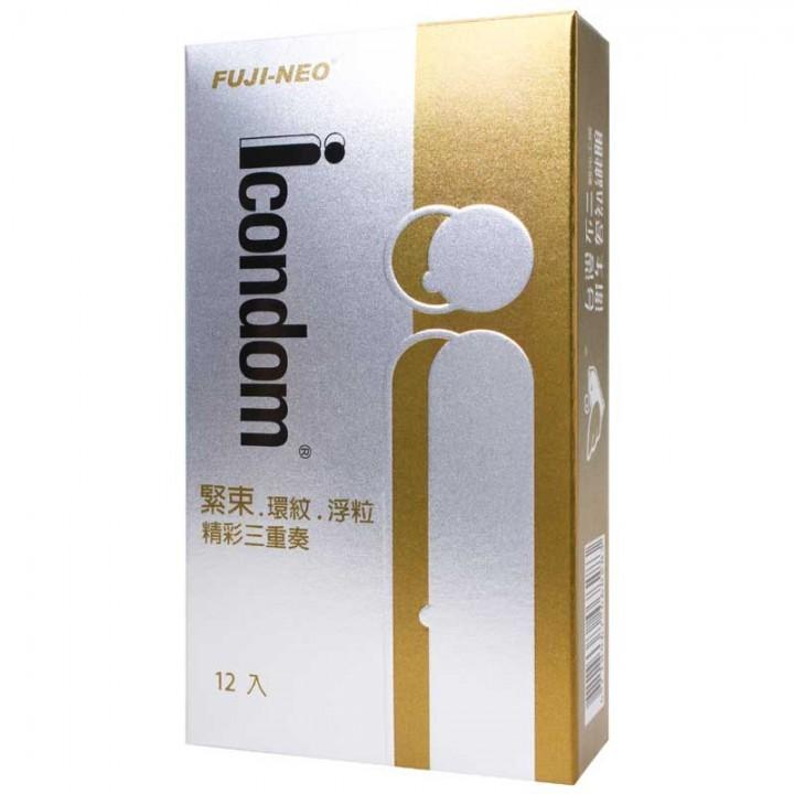 情趣用品-艾康頓精彩三重奏三效合一型衛生套保險套12入(緊束+環紋+顆粒)