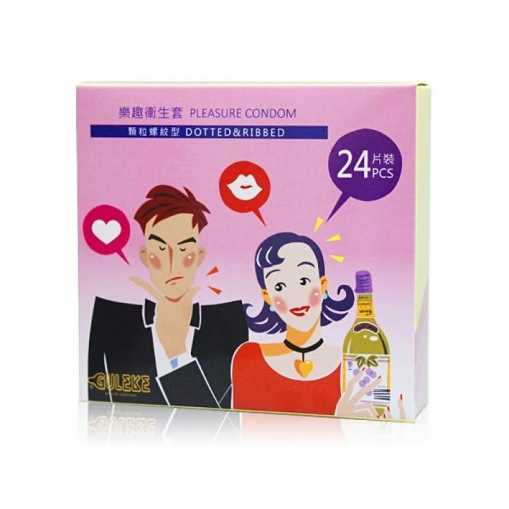 情趣用品-樂趣衛生套心情螺紋顆粒型保險套特惠組24片